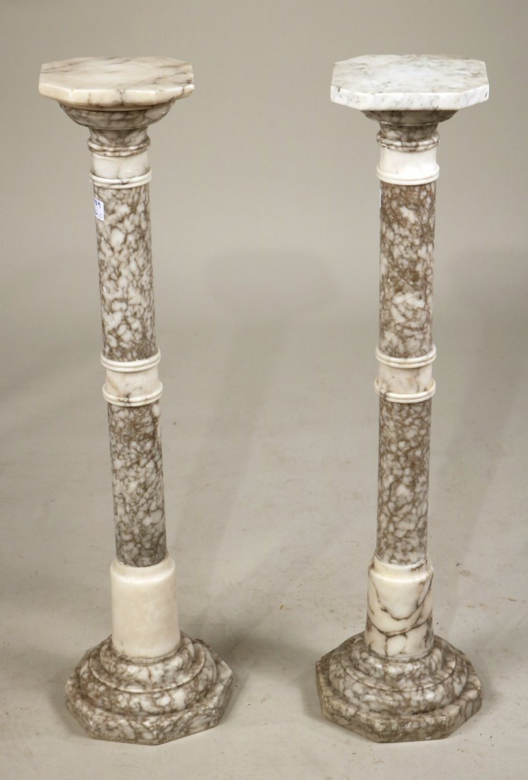 Pair of White Marble Columnar Pedestals