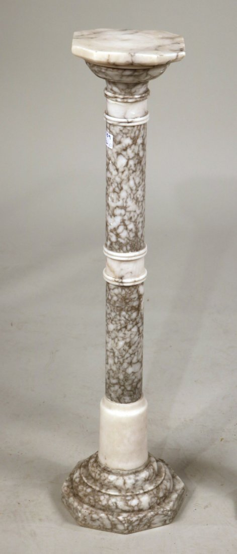Pair of White Marble Columnar Pedestals - 2