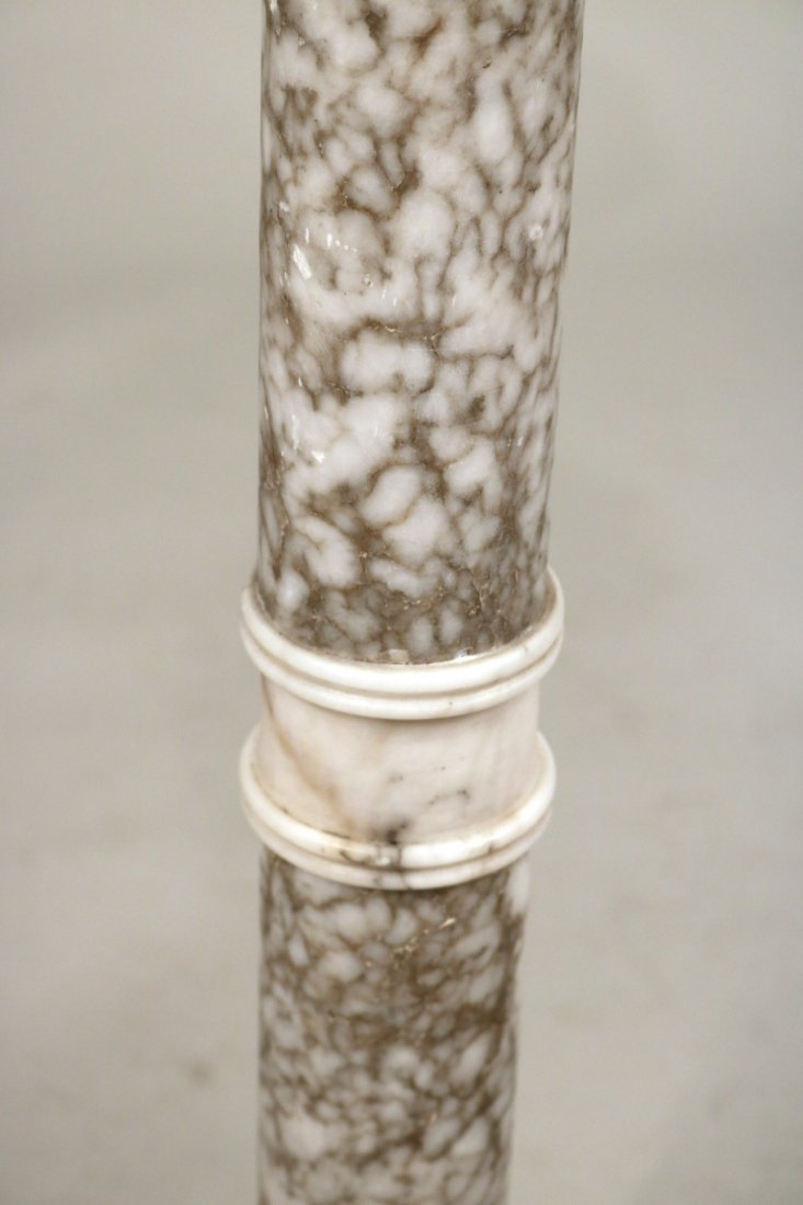 Pair of White Marble Columnar Pedestals - 4