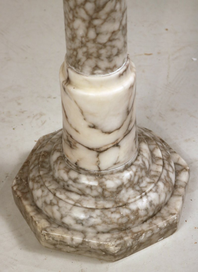 Pair of White Marble Columnar Pedestals - 9