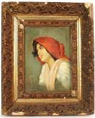 Oil on Canvas, Peasant Woman, F. Luis Mora