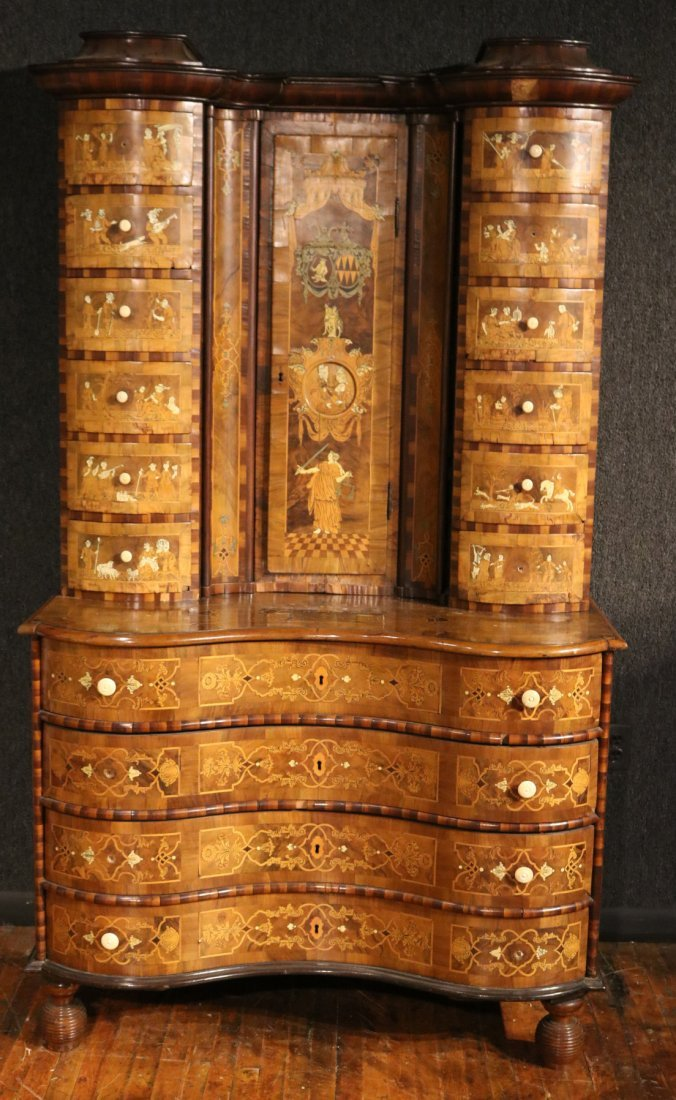 Baroque Elaborately Inlaid Walnut Cabinet - 10