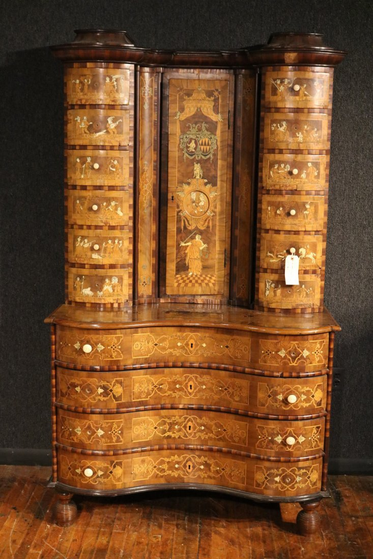 Baroque Elaborately Inlaid Walnut Cabinet - 2