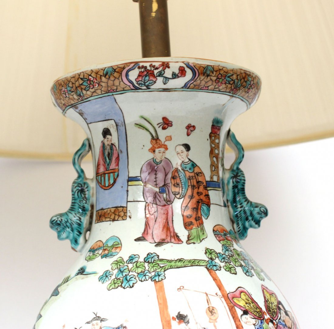 Two Similar Chinese Porcelain Handled Vases - 3