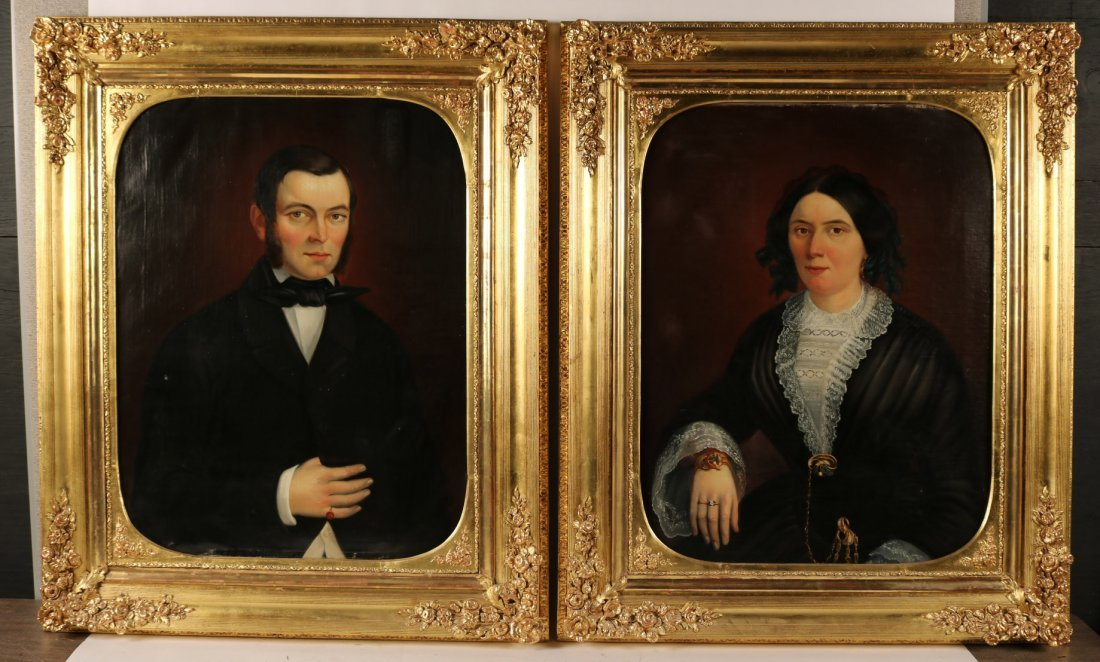 Two Oils on Canvas, Portrait of a Gentleman&Woman