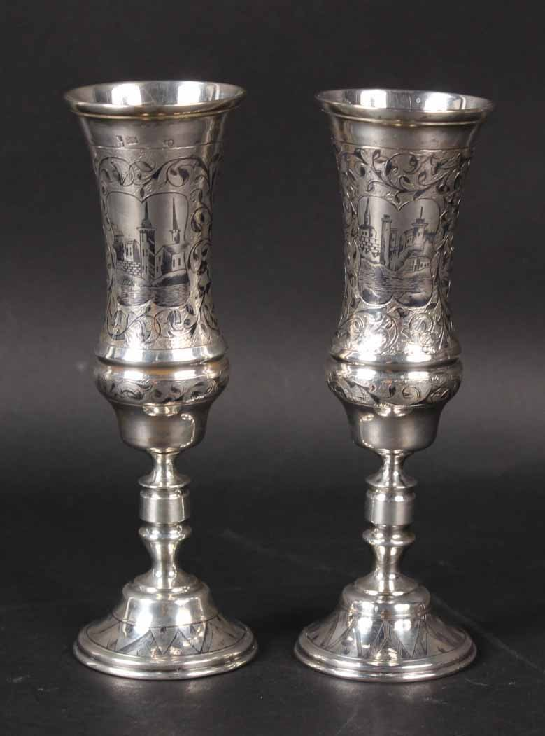 Two Similar Russian Silver Kiddish Cups