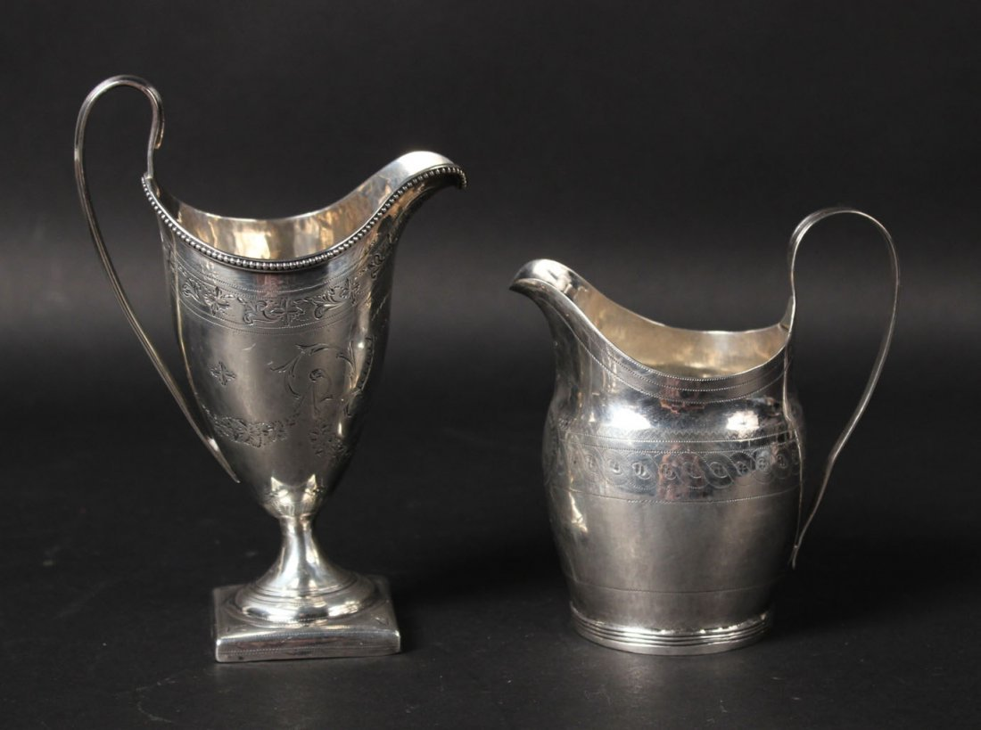 Two Georgian English Silver Cream Jugs