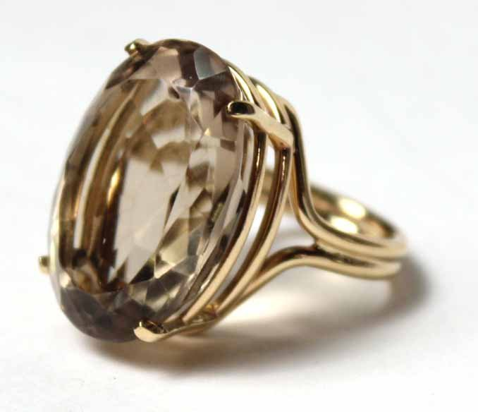 14K Yellow Gold and Smoky Topaz Ring