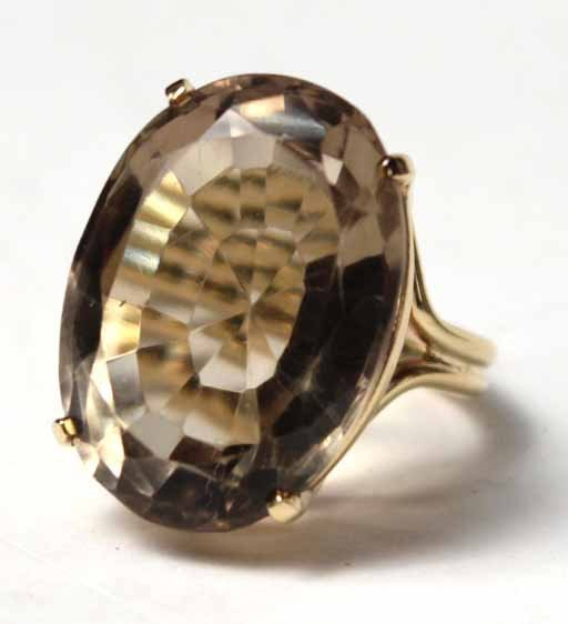 14K Yellow Gold and Smoky Topaz Ring - 2