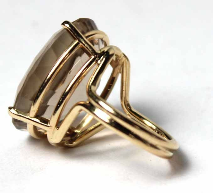 14K Yellow Gold and Smoky Topaz Ring - 3