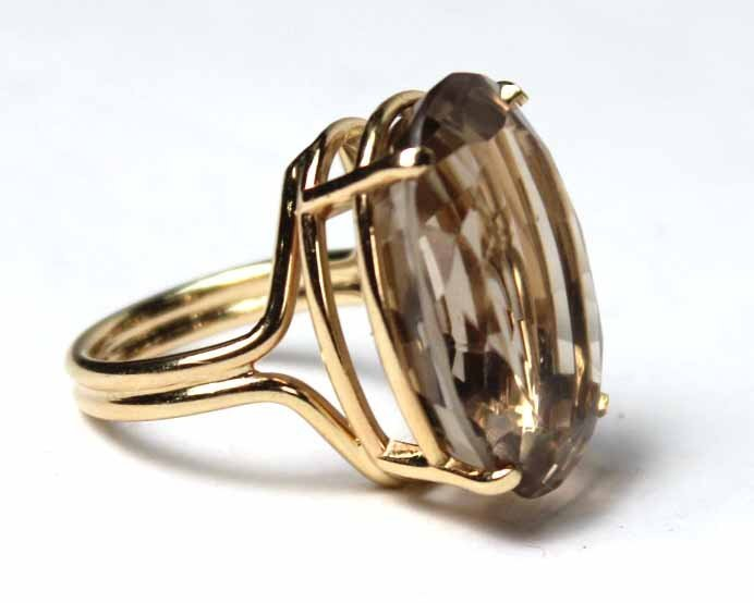 14K Yellow Gold and Smoky Topaz Ring - 5