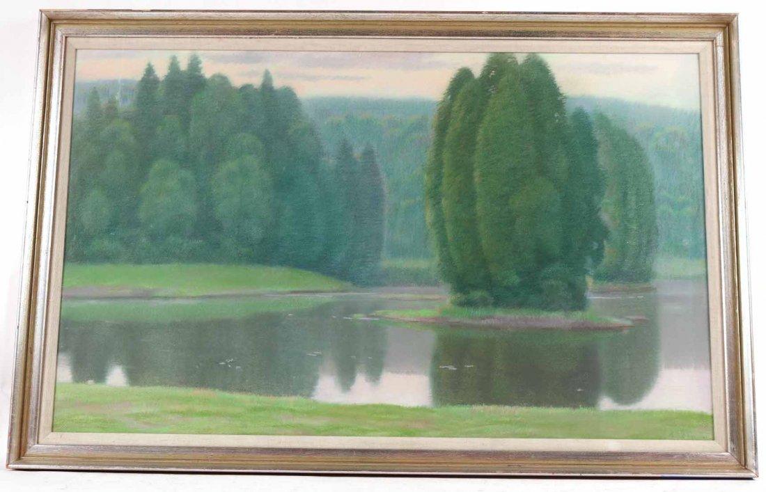 Pastel on Paper, Connecticut Landscape