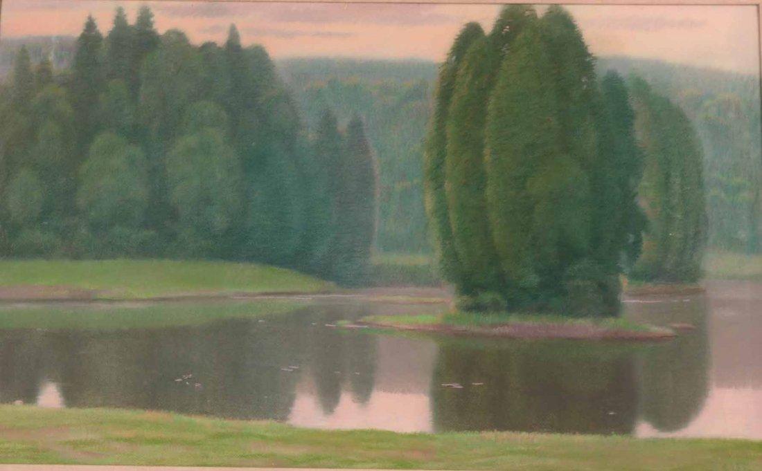 Pastel on Paper, Connecticut Landscape - 2