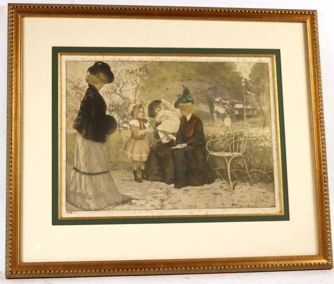 Color Aquatint, Au Jardin, Manuel Robbe