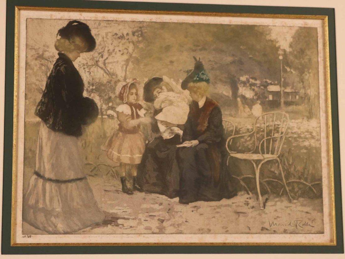 Color Aquatint, Au Jardin, Manuel Robbe - 2