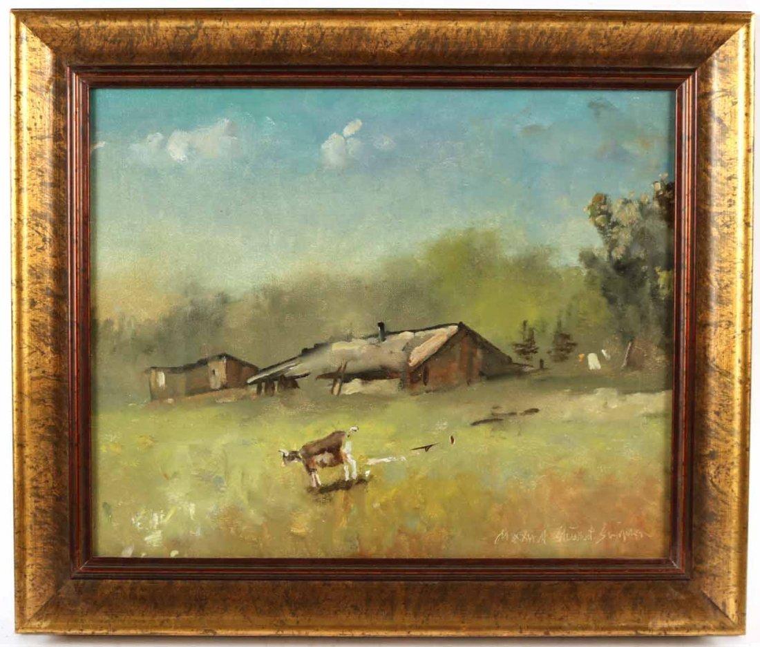 Oil on Canvas, Farm with Goats, Maxwell Simpson