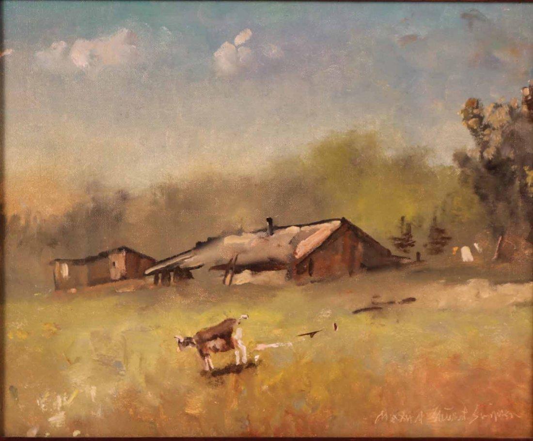 Oil on Canvas, Farm with Goats, Maxwell Simpson - 2