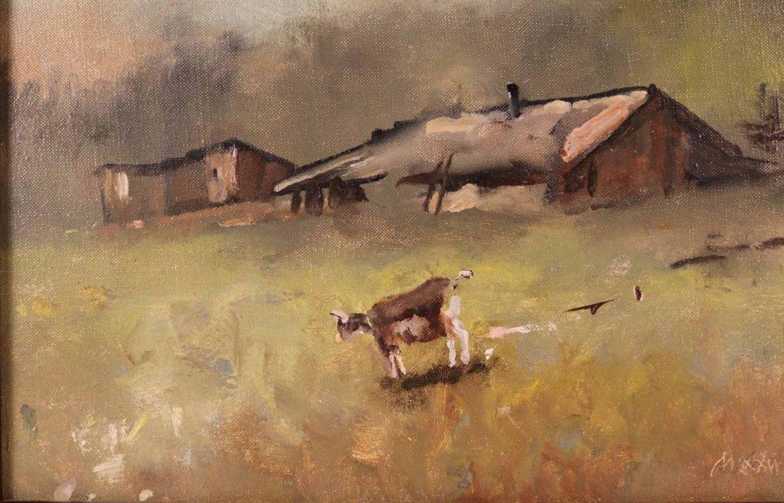 Oil on Canvas, Farm with Goats, Maxwell Simpson - 4