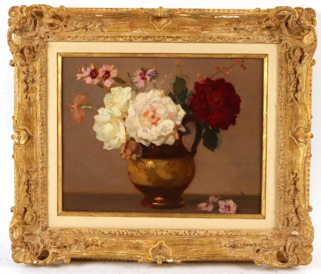 Oil on Board, Roses, Gustav Lorain