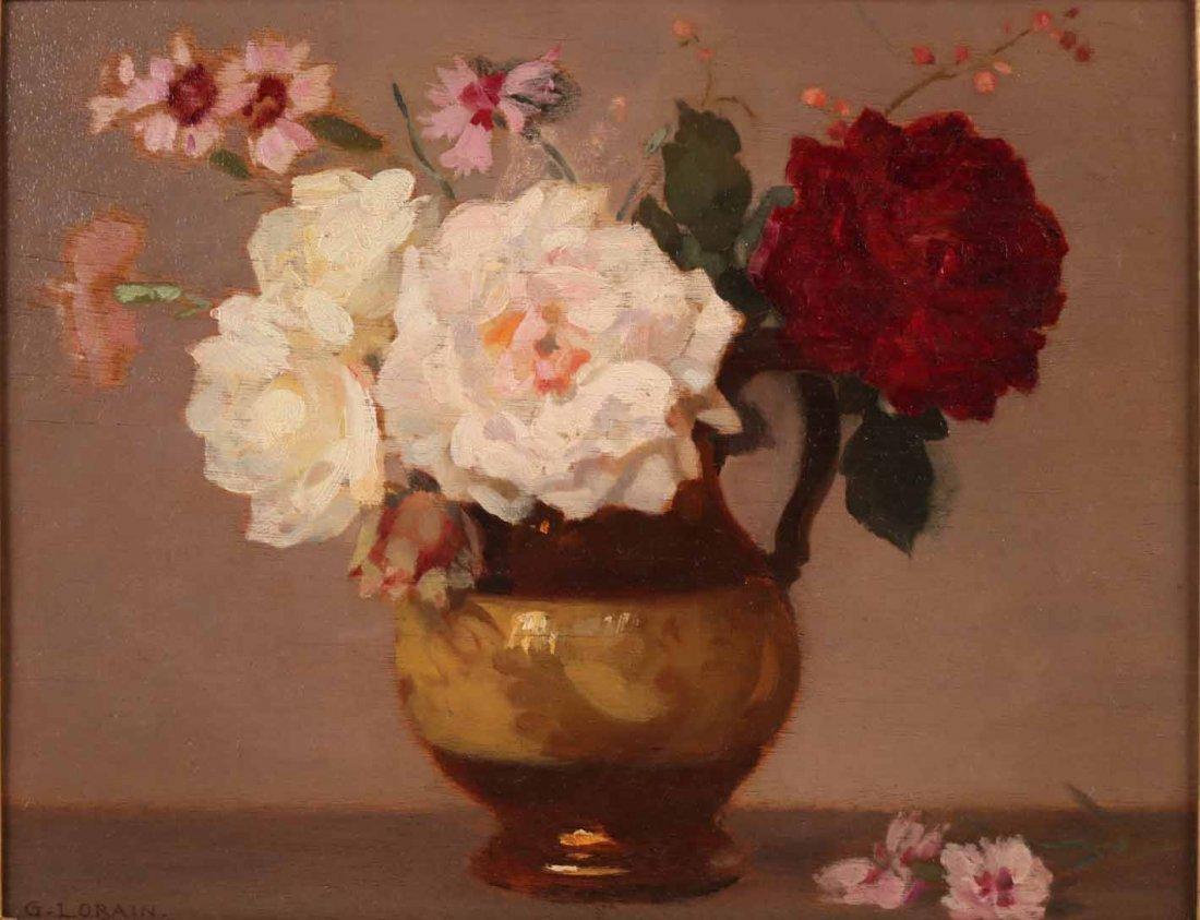 Oil on Board, Roses, Gustav Lorain - 2