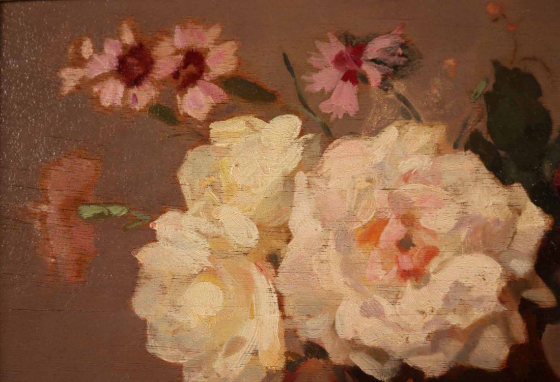 Oil on Board, Roses, Gustav Lorain - 4