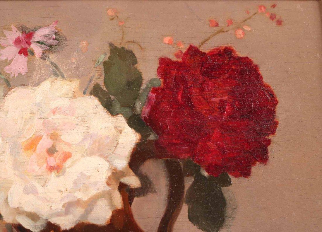 Oil on Board, Roses, Gustav Lorain - 5