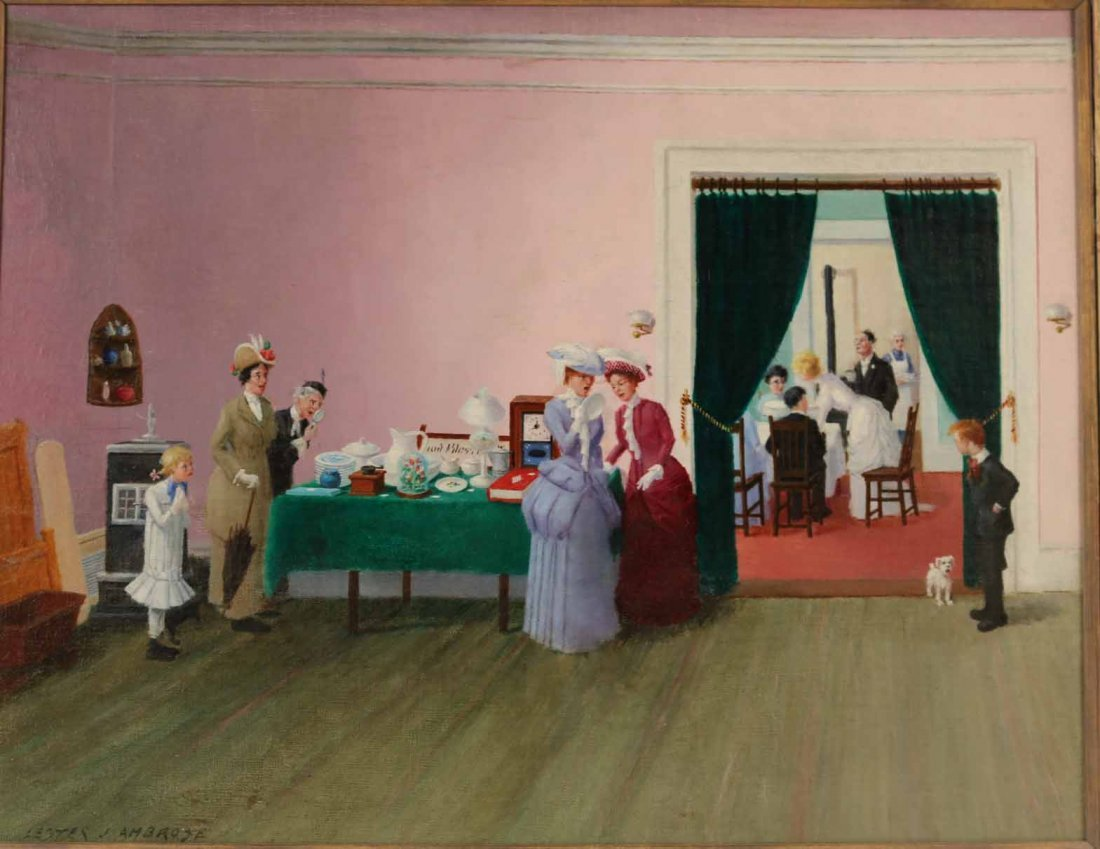 """Oil on Canvas, """"The Wedding,"""" Lester Ambrose - 2"""