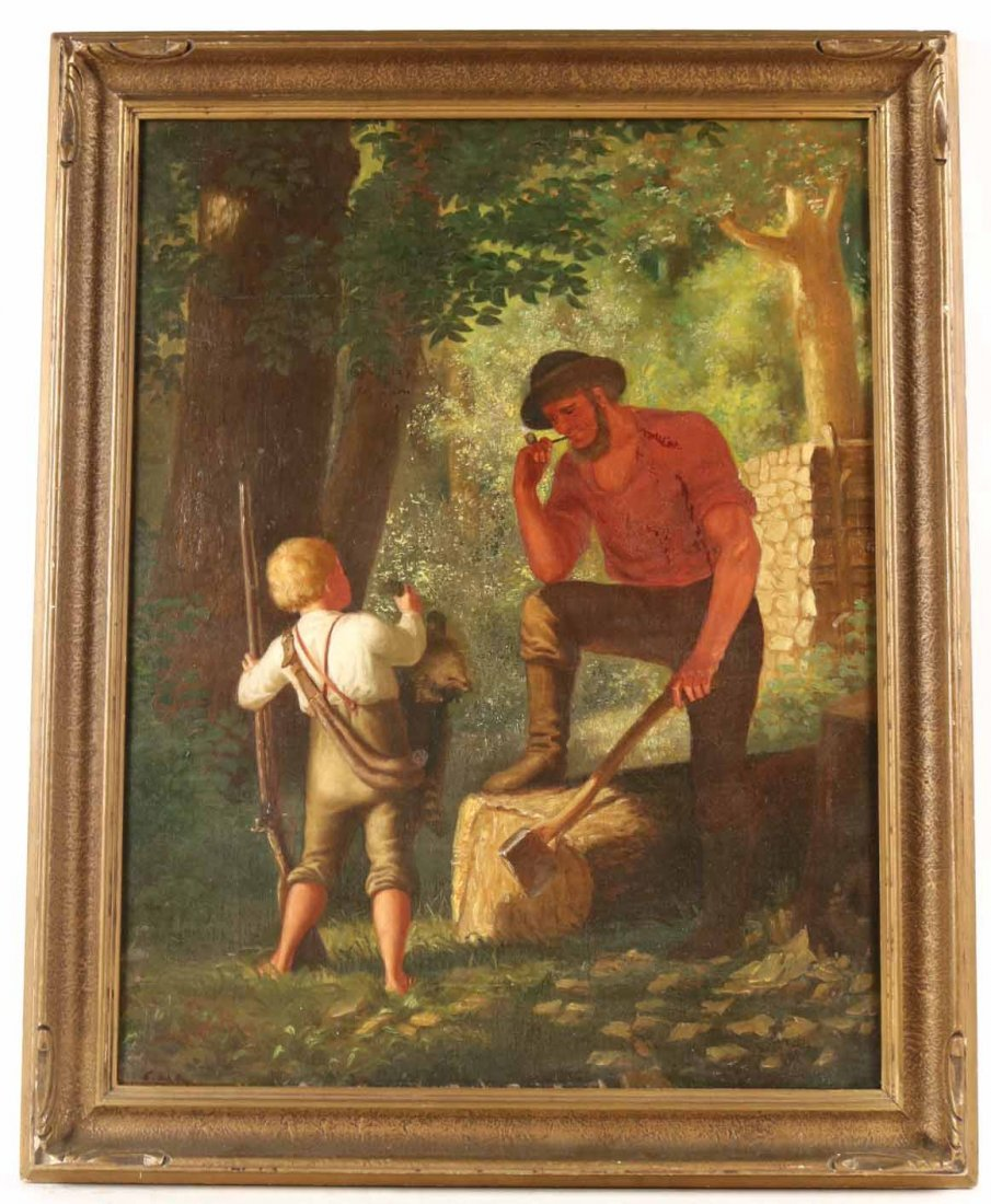 Oil on Canvas, Woodsman with Young Boy