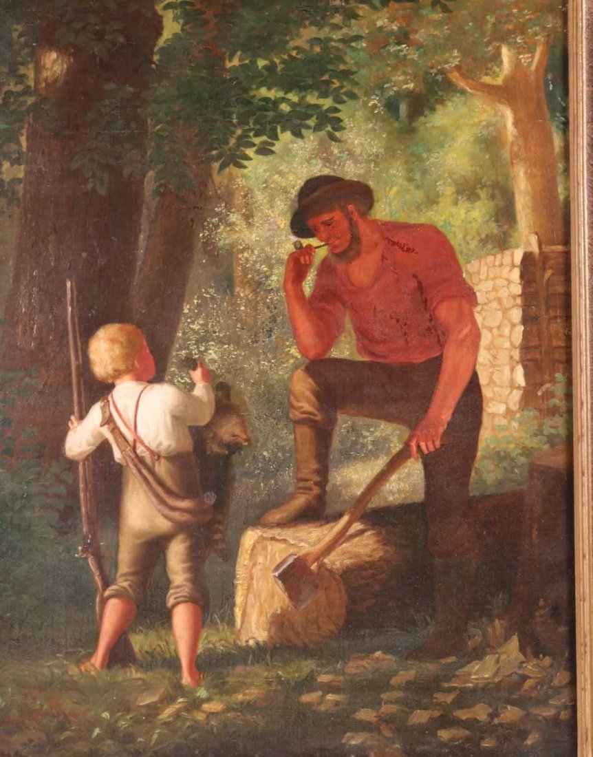 Oil on Canvas, Woodsman with Young Boy - 2