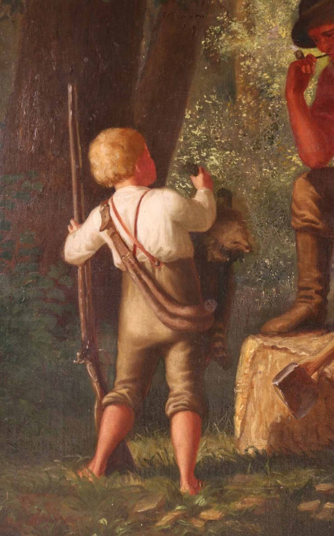 Oil on Canvas, Woodsman with Young Boy - 4