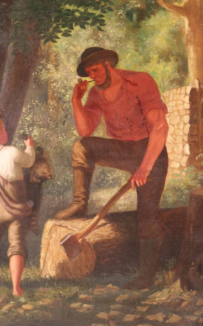 Oil on Canvas, Woodsman with Young Boy - 5