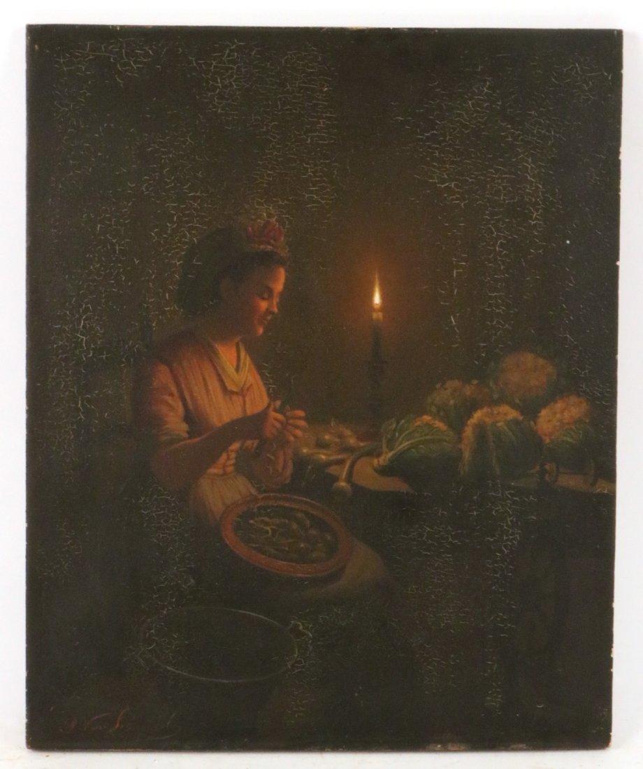 Oil on Board, Seated Girl, Petrus van Schendel