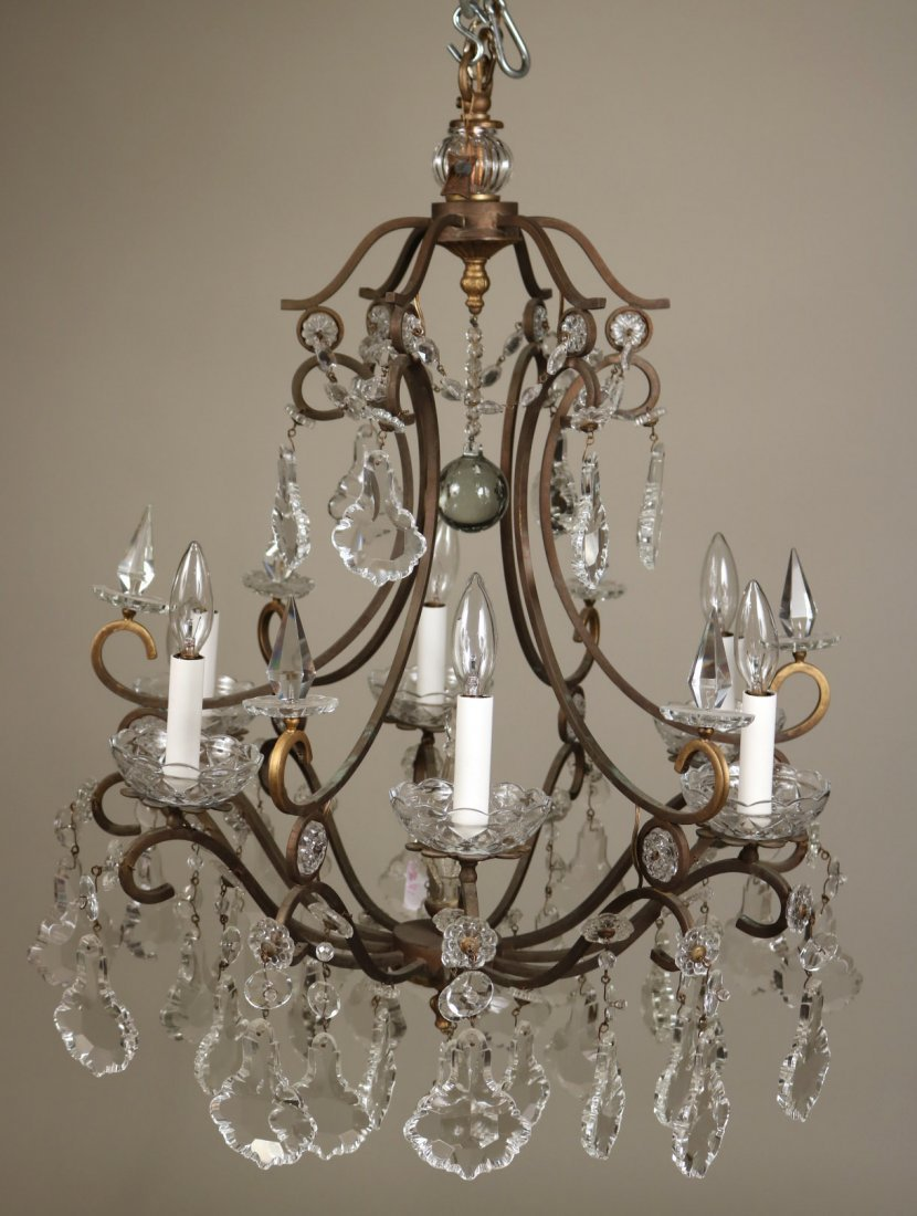 Crystal and Bronze Six-Light Chandelier