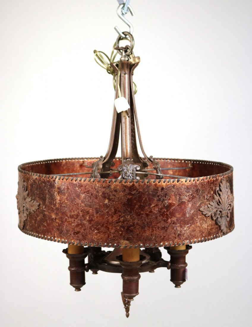 Patinated Metal and Mica Shade Chandelier