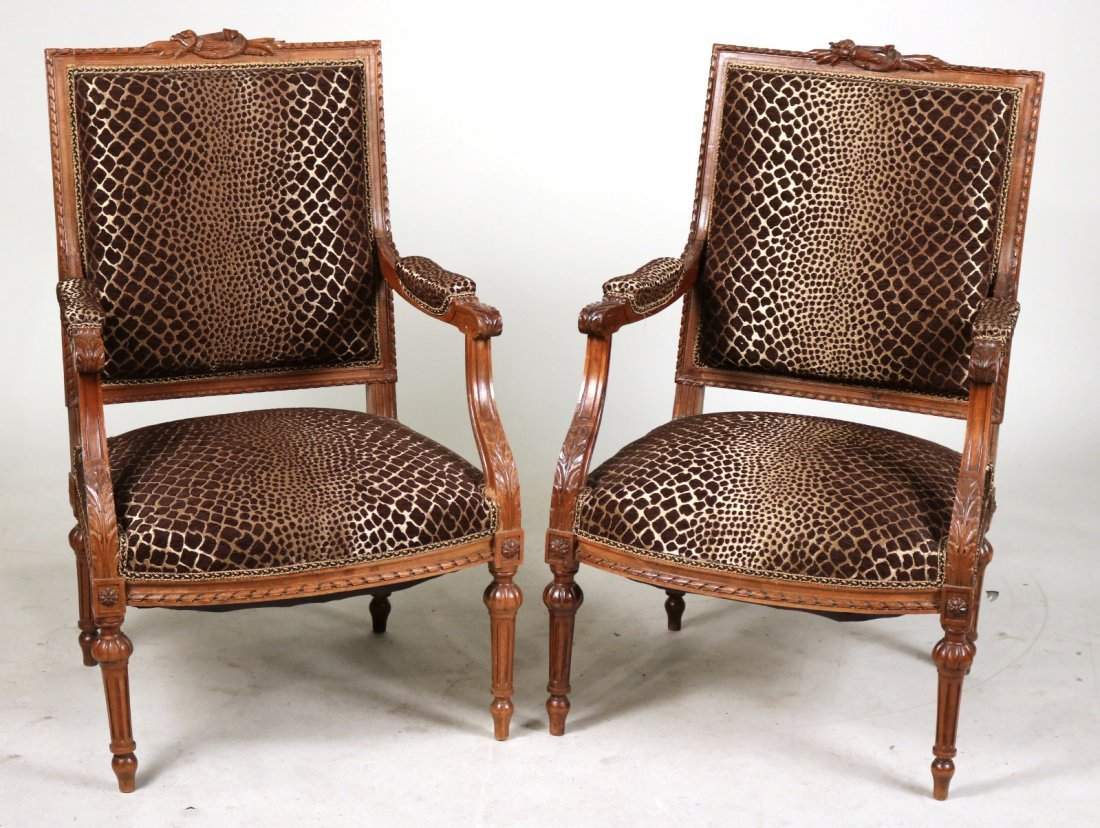 Pair of Louis XVI Style Walnut Armchairs