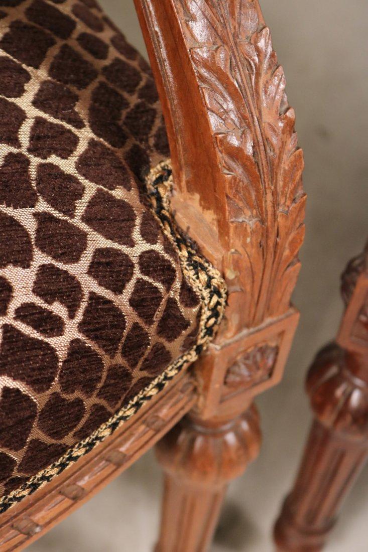 Pair of Louis XVI Style Walnut Armchairs - 3