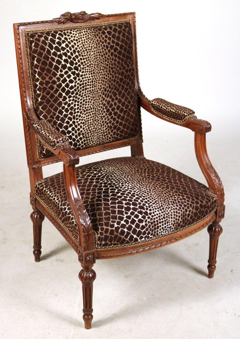 Pair of Louis XVI Style Walnut Armchairs - 4