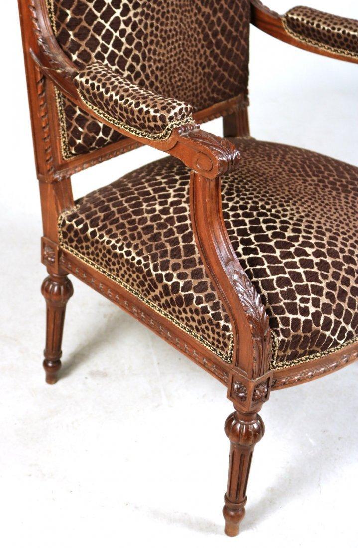 Pair of Louis XVI Style Walnut Armchairs - 5