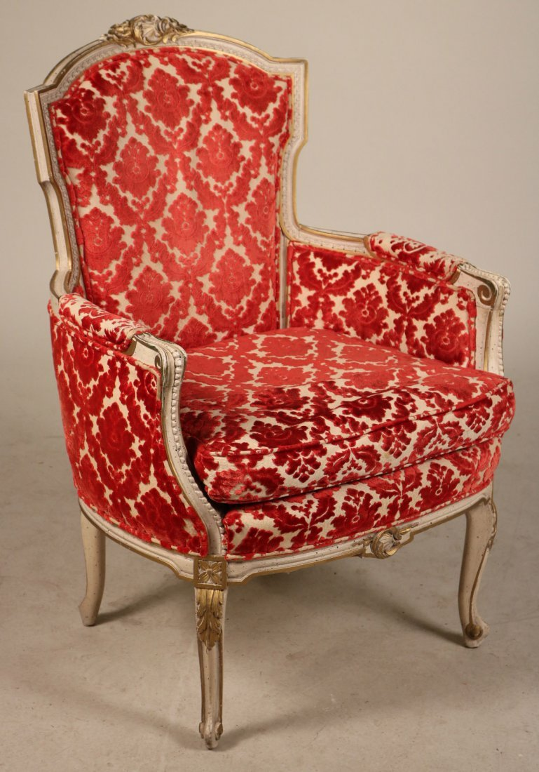 Louis XV Style White-and-Gold Painted Bergere
