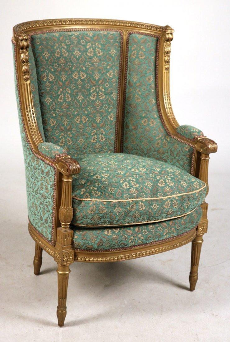Louis XVI Style Giltwood Barrel-Back Chair