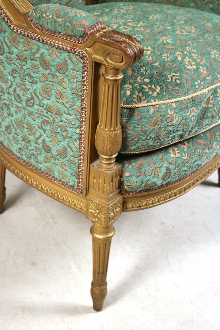 Louis XVI Style Giltwood Barrel-Back Chair - 2