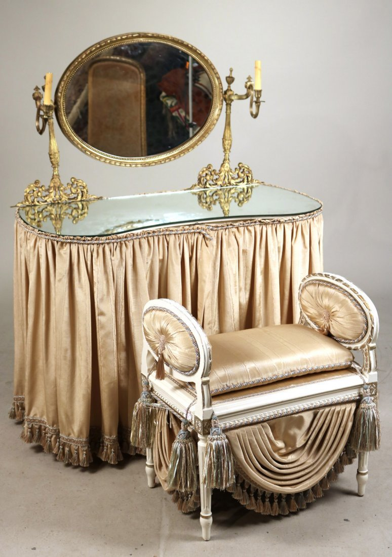 Gilt-Metal Mounted White Painted Vanity