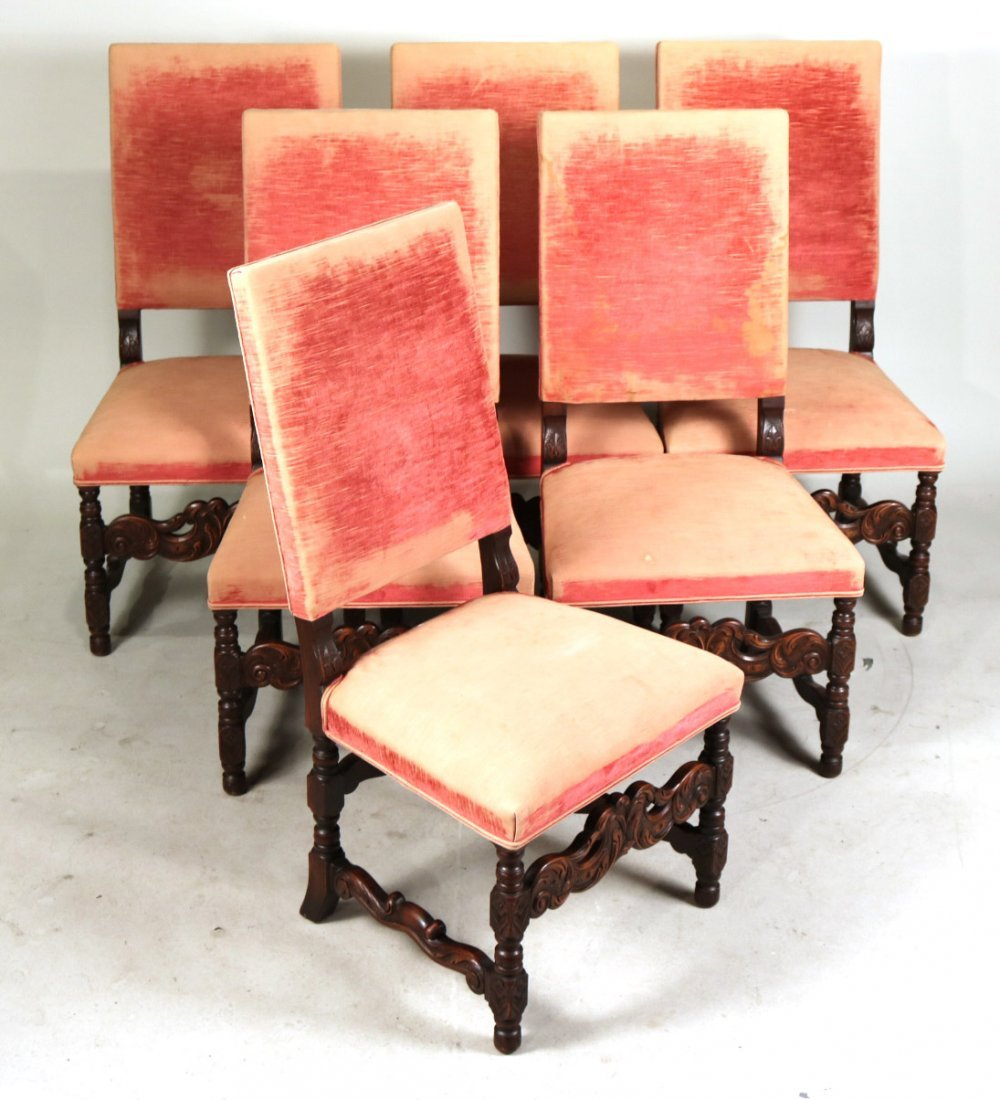 Six Baroque Style Mahogany Dining Chairs