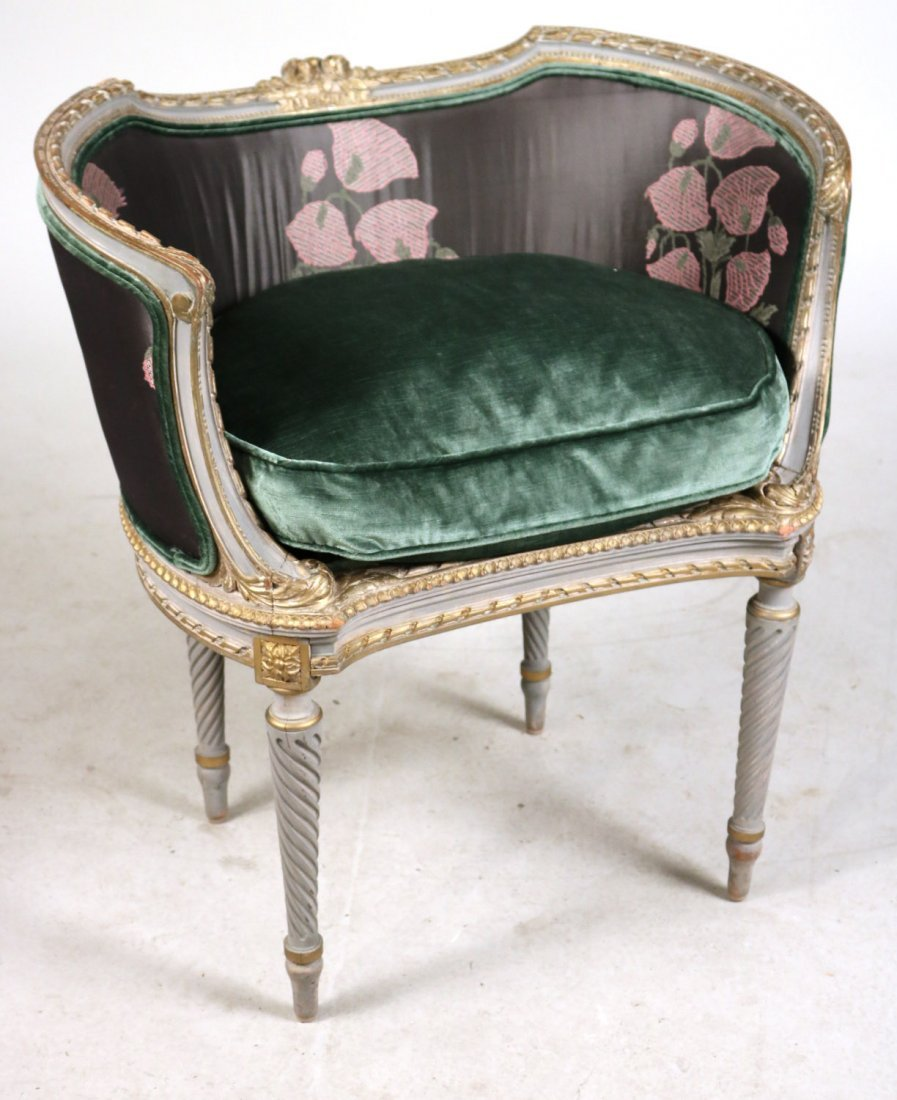 Louis XVI Style Painted Barrel Back Chair