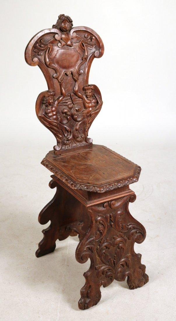 Renaissance Revival Carved Walnut Backstool