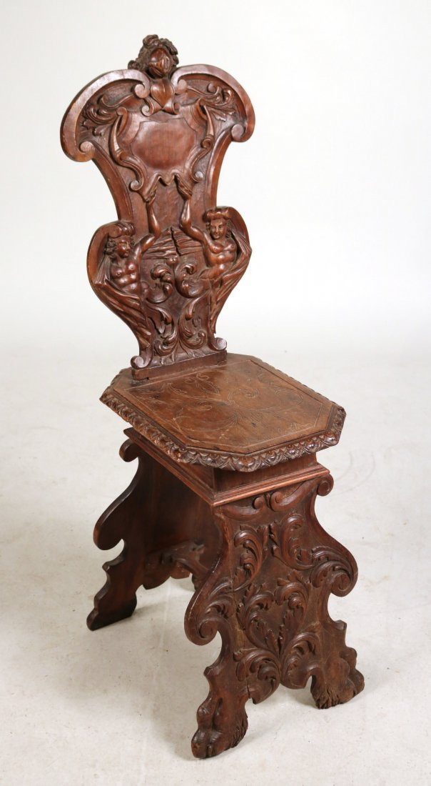 Renaissance Revival Carved Walnut Backstool