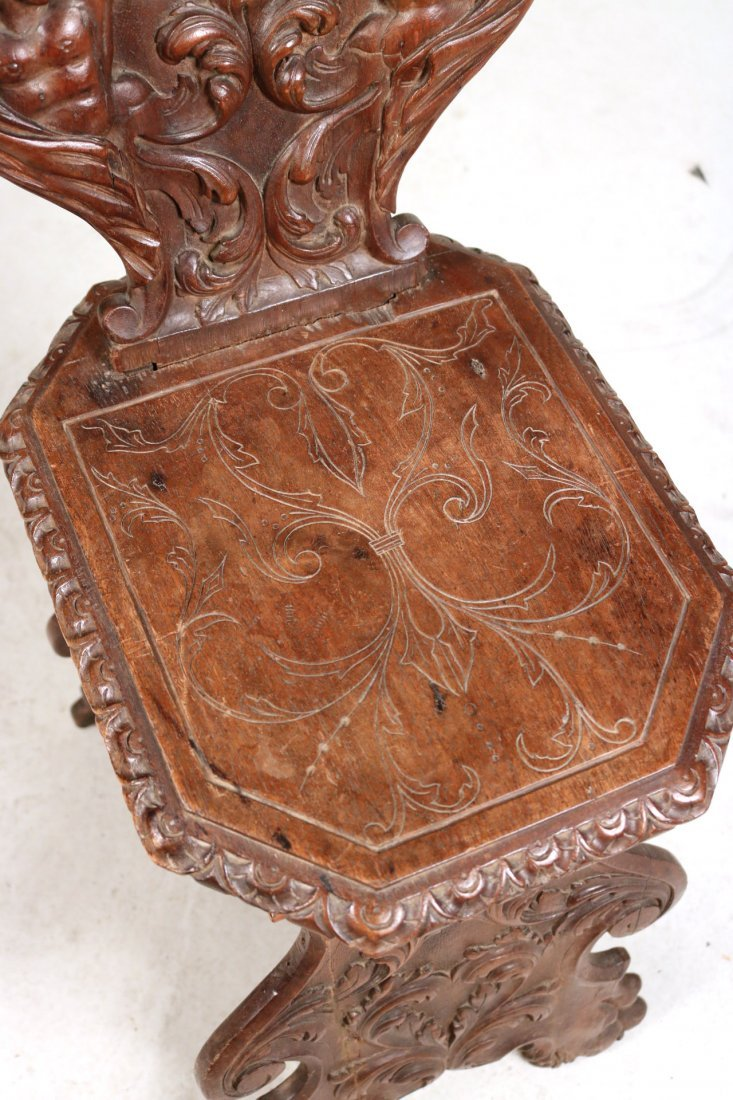 Renaissance Revival Carved Walnut Backstool - 3