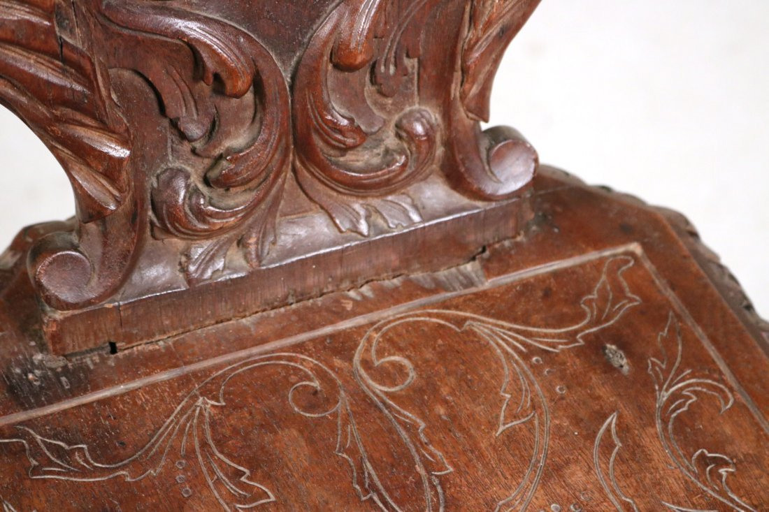 Renaissance Revival Carved Walnut Backstool - 4