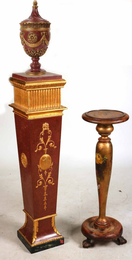 Neoclassical Style Painted Pedestal with Urn