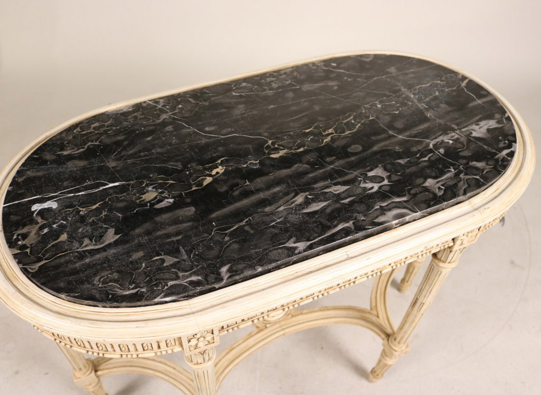 Louis XVI Style White-Painted Marble Top Table - 2